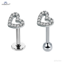 Starbeauty 1pc 18G Crystal Heart Cartilage Tragus Piercing Labret Lip Ring Stud Earring Ear Piercing Helix Daith Earrings Studs(China)