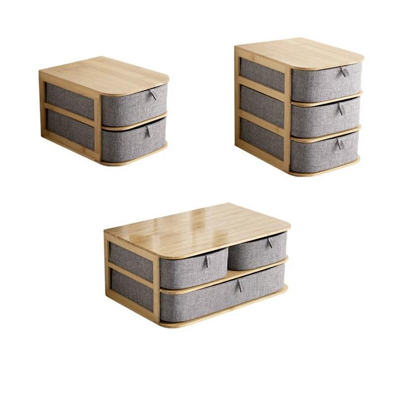 Boîte de rangement en bois de bambou nouvellement multi-couches avec tiroirs en tissu Oxford pour bureau MK - 2