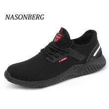 NASONBERG Breathable Indestructible Ryder Shoes Men Steel Toe Air Safety Boots Puncture-Proof Work Sneakers