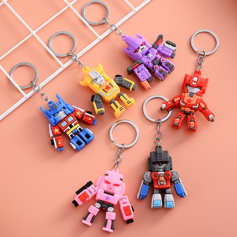 Transformars anime chaveiro pingente ornamento dos desenhos animados pingente macio pvc kawaii keyrings telefone brinquedos das crianças presente moda jóias