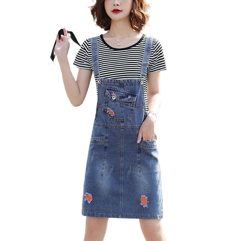Blue Vintage Women Suspender Denim Skirt With Ripped 2020 Summer High Waist Strap Overalls Hole Jeans Jumpsuit Skirt Femme