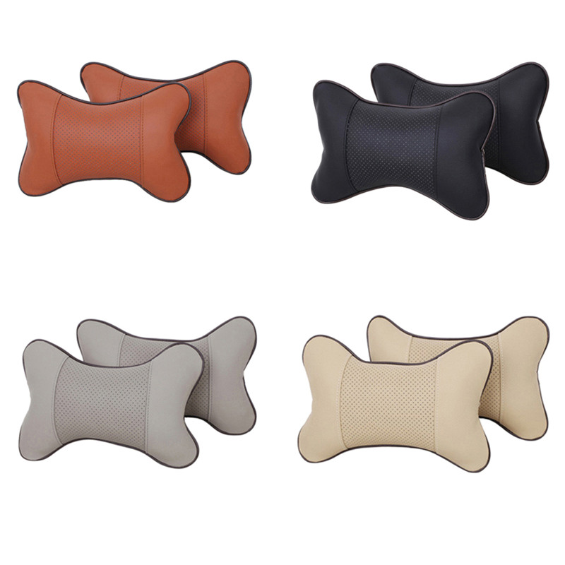 2Pcs Set Car Headrest Neck Pillows Leather Breathable Mesh Auto Universal Cushion Pillow Quality NEW Accessories Multifunction