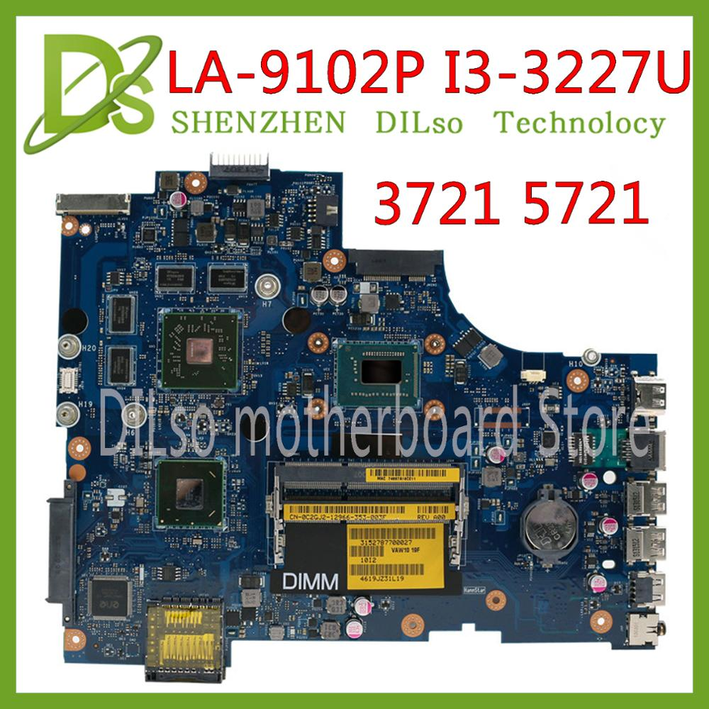 KEFU VAW11 LA-9102P REV:1.0 FOR Dell Inspiron 3721 5721 Laptop Motherboard CN-09KHW3 09KHW3 9KHW3 I3 CPU Mainboard Original