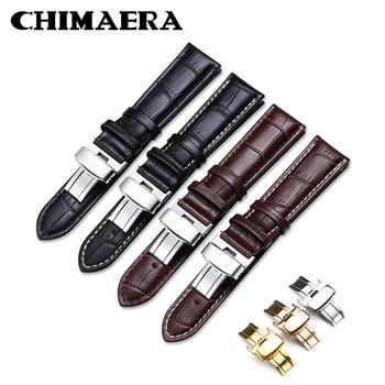 Correas de reloj CHIMAERA, correa de Piel De Becerro auténtica, pulsera negra, marrón, 14mm, 16mm, 18mm, 20mm, 22mm, correa de reloj, correa de reloj