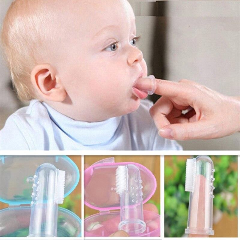 Silicone macio bebê dedo escova de dentes com caixa infantil saudável limpo massagem dente goma massageador língua transparente mordedor mais limpo