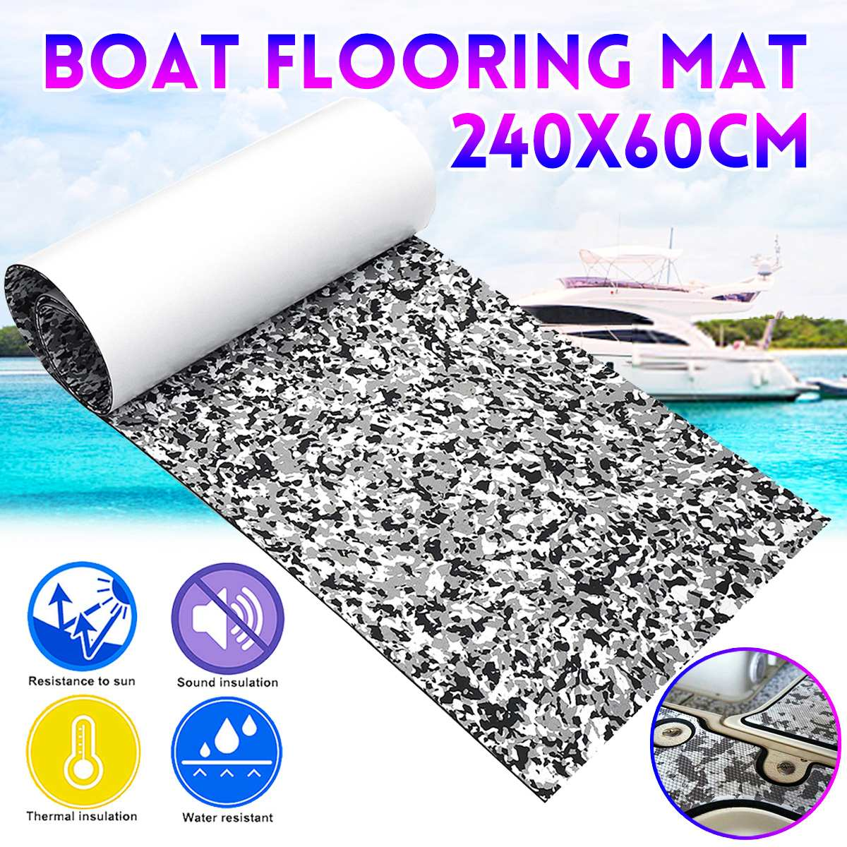 Marine Boat Yacht  Floor Mat Non Slip Carpet EVA Camouflage Car Carpet Self Adhesive Anti-Slip Mat Car Decoration For RV Caravan