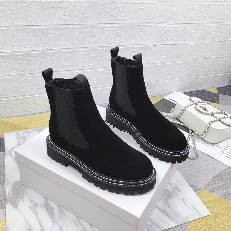 Martin Boots Female Autumn and Winter 2019 New British Retro Thick Bottom Sleeve Shoe Locomotive Bare Boots in Mid Calf Boots from Shoes