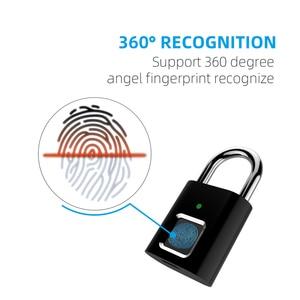 Image 4 - Smart Fingerprint Lock USB Rechargeable Fingerprint Padlock Quick Unlock Zinc Alloy Metal Self Developing Chip for Door Luggage