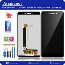 """لنوكيا 6 2018 / 6.1 TA 1043 TA 1045 5.5 """"شاشة LCD تعمل باللمس محول الأرقام الجمعية استبدال شاشات الكريستال السائل + هدية"""