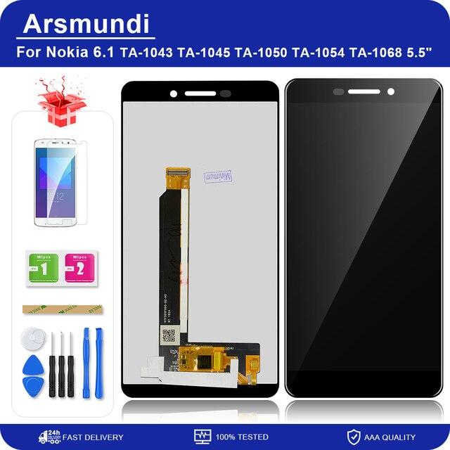 "Nokia 6 2018 / 6.1 TA 1043 TA 1045 5.5 ""LCD 디스플레이 터치 스크린 디지타이저 어셈블리 교체 LCD + 선물"
