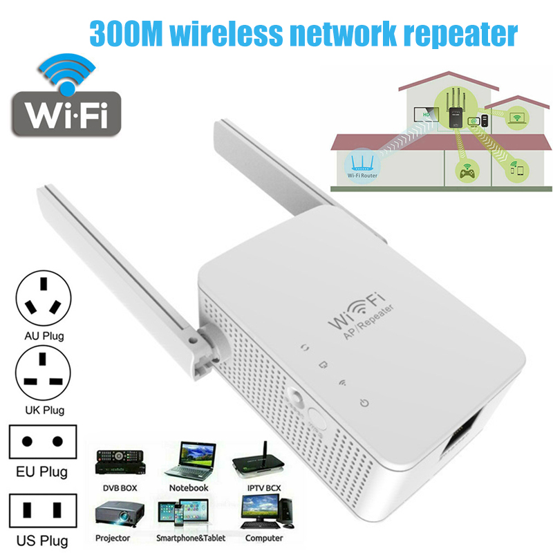 Dual Antennas Wireless Networks Repeater 300Mbps WiFi Repeater Extender Signal Booster LHB99