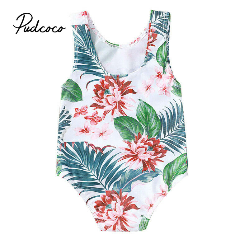 Pudcoco Toddler Infant Baby Girls Floral Swimsuit Swimwear Swimming Bikini One-Piece Bodysuit Swimwears For 6 Months-4Years Girl