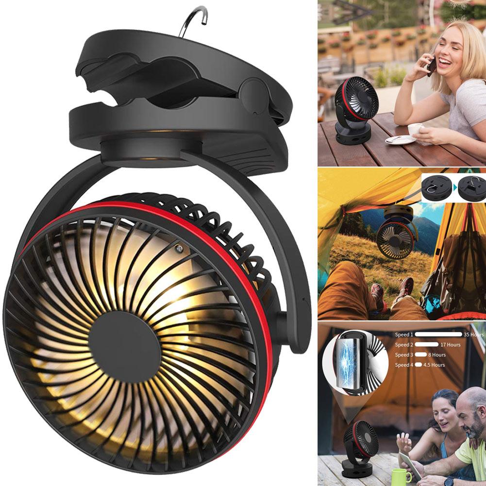 Camping Lantern Fan Light With Hanging Hook 4 Speeds Quiet Wind Fan For Tent Emergency WWO66