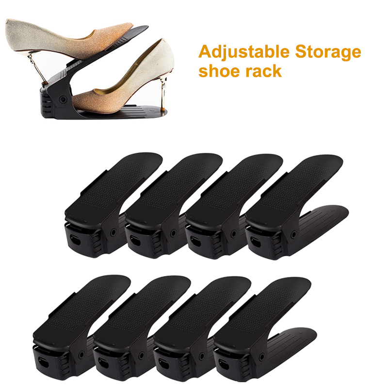 2/4/6/8/10pcs Adjustable Shoe Organizer Modern Double Shoe Rack Storage Space Saver Shoes Organizers Stand Shelf For Living Room