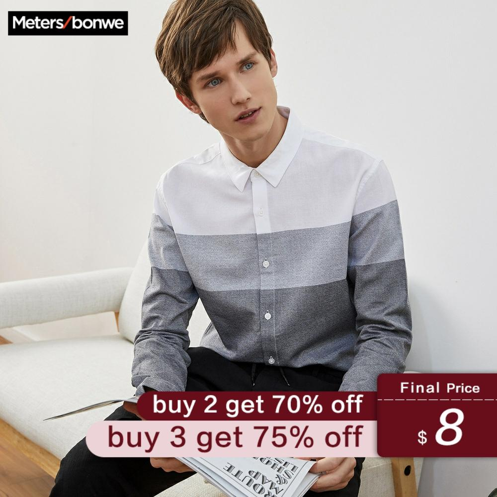 Metersbonwe Brand Men Smart Casual Striped Shirts Spring Autumn Male Slim Long Sleeve Shirts Regular Cotton Male Basic Tops