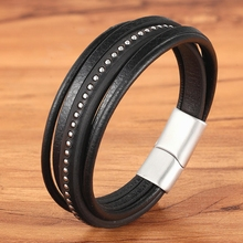2020 New Luxury Men Jewelry Multi-layer Stainless Steel Buckle With Leather Men Bracelet & Bangle For Birthday Special Gift