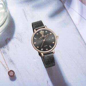 Image 3 - NAVIFORCE Uhr Frauen Mode Kleid Quarz Uhren Dame Edelstahl Wasserdichte Armbanduhr Einfache Mädchen Uhr Relogio Feminino