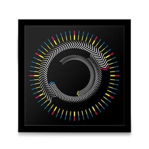 Image 2 - חידוש עץ זמן מסגרת כיכר שולחן שעון מסתובב צלחת חצים צבעוני שעון קיר מודרני עיצוב שולחן עבודה גרפי אמנות שעון