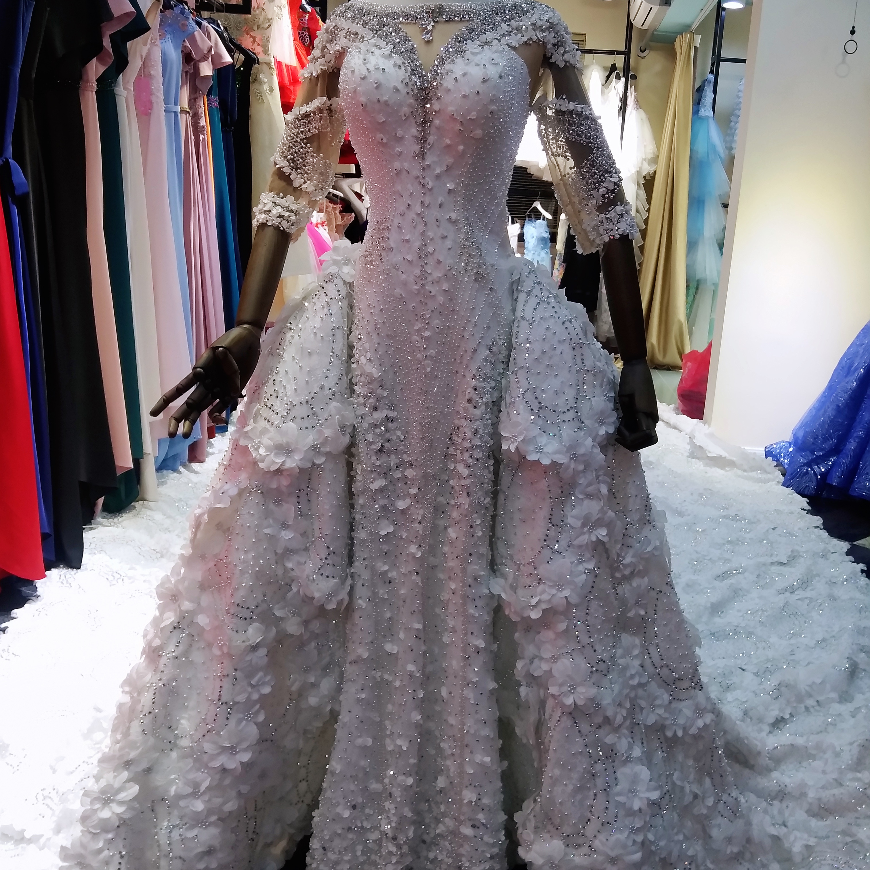Marnham 2021 Off Shoulder Dubai Beaded Crystal Lace V Neck Luxury Mermaid Bridal Wedding Dress With Detachable Train Real Photo