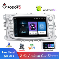 Podofo 2 din Car Radio Android 8.1 7'' Autoradio Multimedia Player GPS Mirrorlink For Ford Focus Mondeo C MAX S MAX Galaxy II