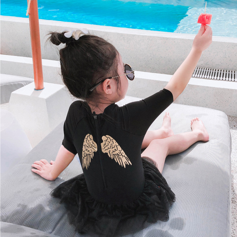 2019 New Style Women's Medium-small Children Princess Veil Bathing Suit Baby Short Sleeve Swimwear Solid Color Korean-style Hot