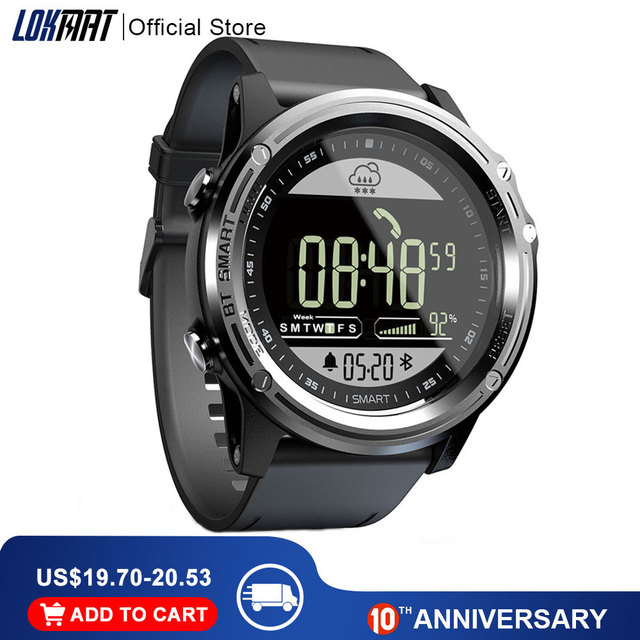 LOKMAT Sport Smart Watch Pedometer 5ATM Waterproof Real time Weather Clock Digital Men Bluetooth SmartWatch For IOS & Android