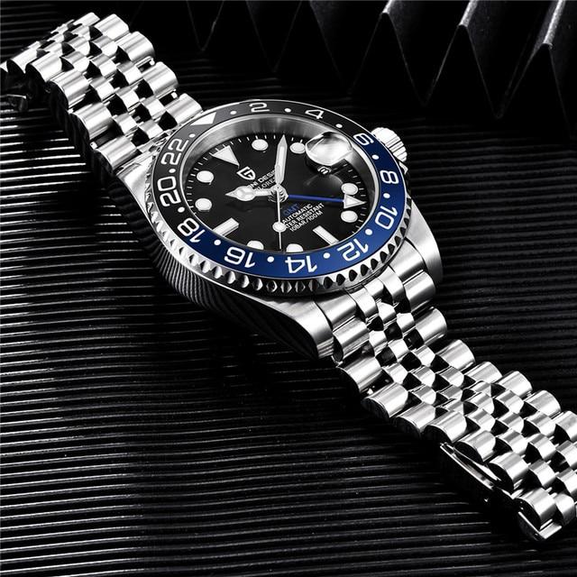 PAGANI DESIGN 40mm GMT Men's Mechanical Watches 100M Waterproof Top Brand Sapphire Glass Stainless Steel Business Men's Watch 1