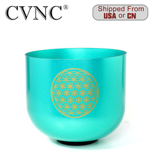 CVNC 7 Flower of Life Green Note F Chakra Heart Clear Quartz Crystal Singing Bowl