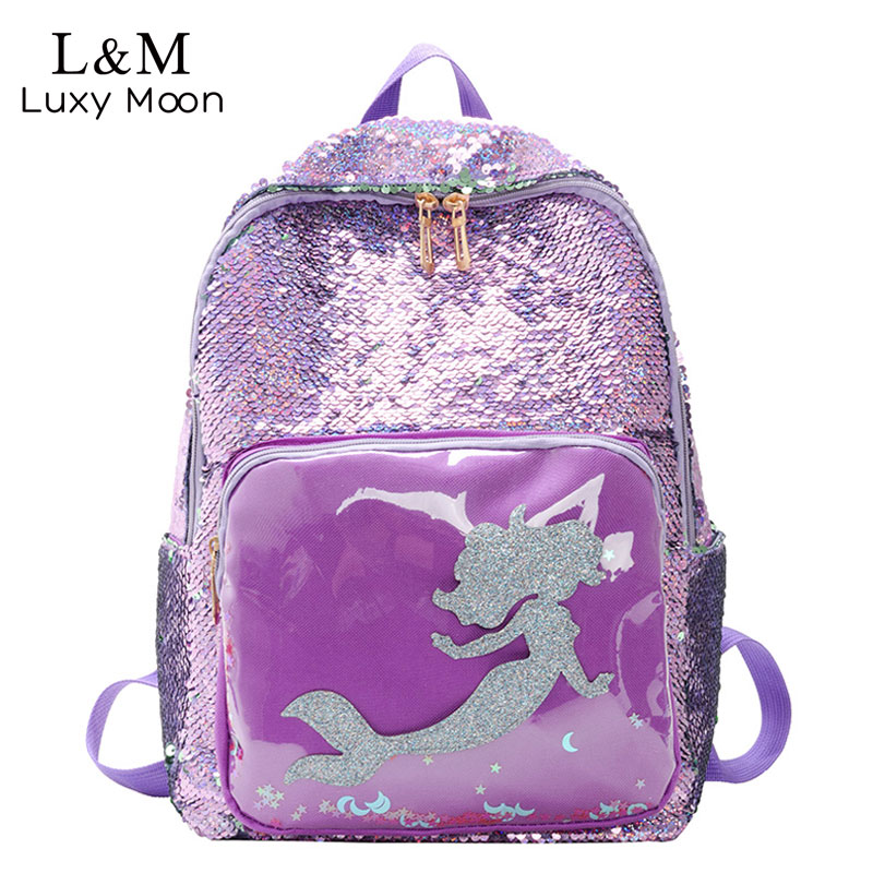 Variable Sequins Mermaid Backpack Fashion Glitter School Laptop Bag Girls Cute Hologram Laser Travel Bags College Mochila XA602H