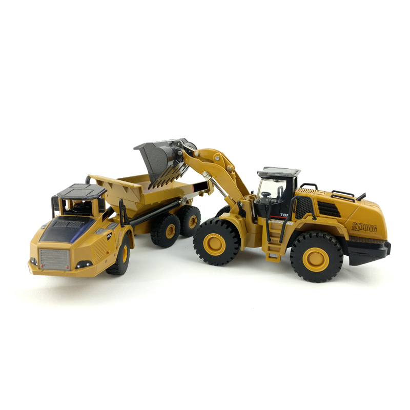 1:50 Dump Truck Tractor Excavator Wheel Loader Car Diecast Metal Model Construction Vehicle Toys Boys Birthday Gift Collection