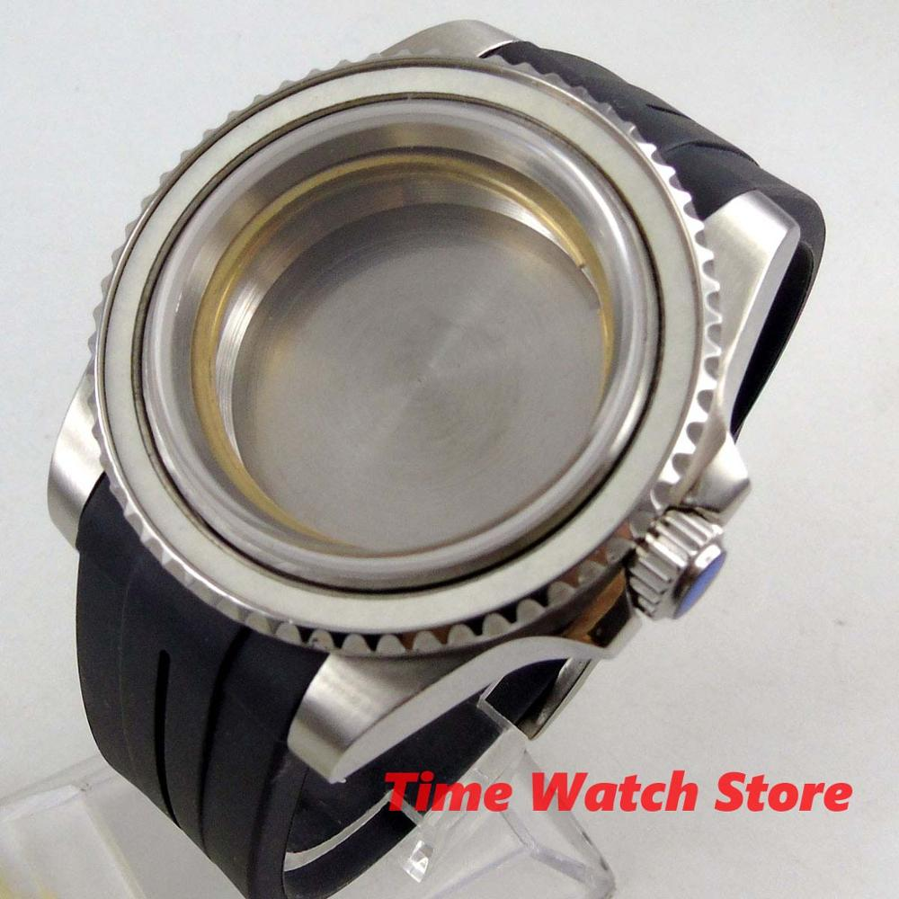 40mm watch Case sapphire glass stainless steel with rubber strap fit ETA 2824 miyota 8215 DG 2813 3804 movement C154