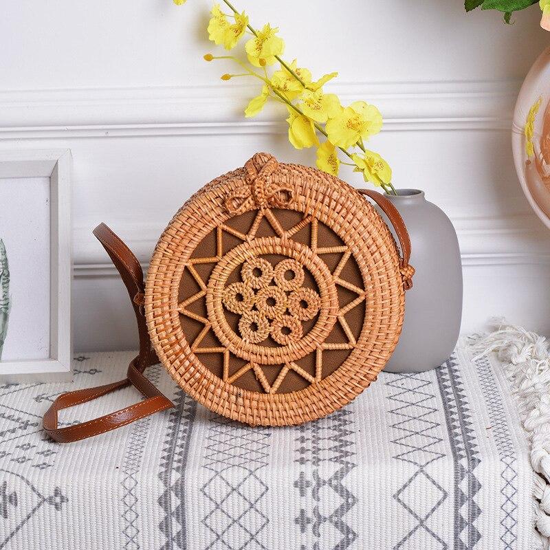 ¡Oferta! cesta de mimbre, cesta de mimbre, cesta tejida a mano de arte antiguo, siete pequeñas bolsas redondas de estrella de cinco puntas - 4