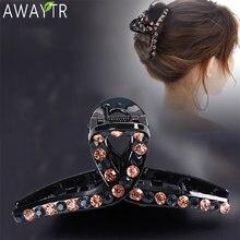 Awaytr Крест Кристалл заколки для волос когти красочные блестящие