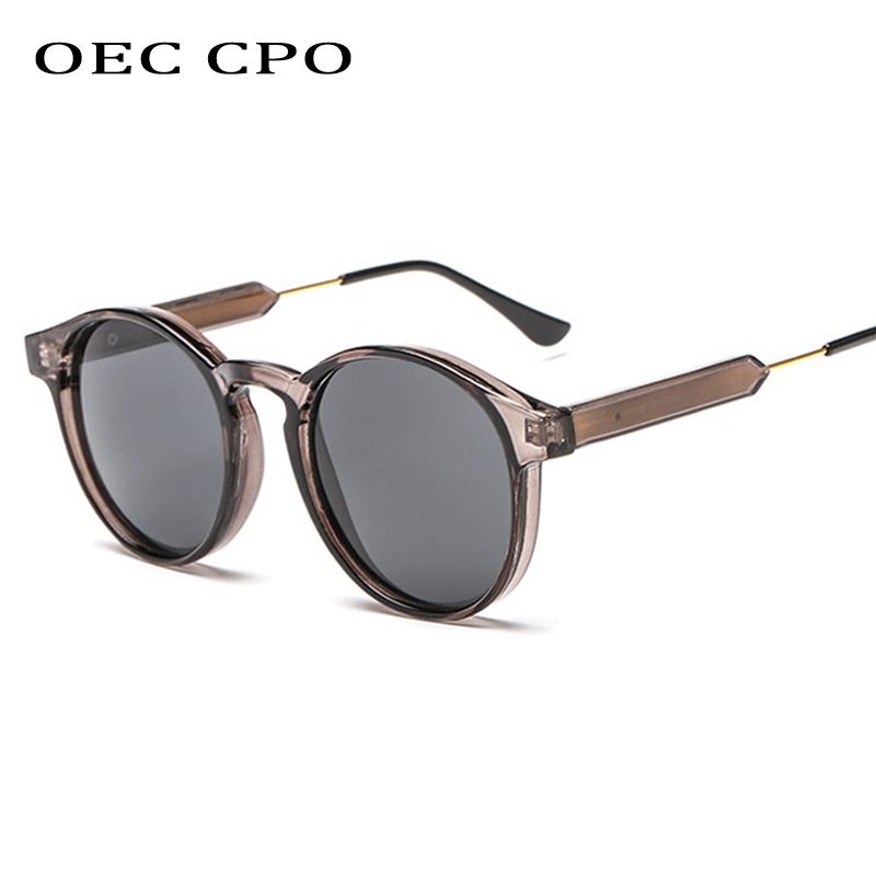 OEC CPO Male Classic Round Sunglasses Men Retro Grey Frame SunGlasses Women Brand Design Gold Alloy Leg Unisex UV400  O130