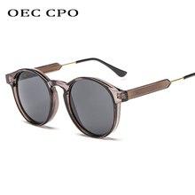 OEC CPO Male Classic Round Sunglasses Men Retro Grey Frame SunGlasses Women Brand Design Gold Alloy Leg Unisex UV400  O130 stylish golden alloy leg matte black frame sunglasses for women