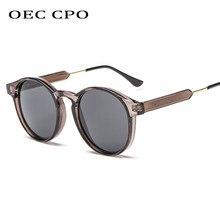 Oec óculos de sol unissex redondo cpo, óculos de sol retrô cinza, unissex uv400 o130, modelo de marca
