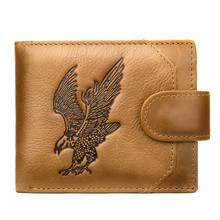 Eagle Print Mens Wallet Cow Leather Bifold Short Wallets Men Hasp Vintage Male Purse Coin Pouch Multi-functional Cards Wallet(China)