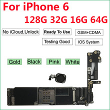 Unlocked Original motherboard for iPhone 6  logic board with Touch ID Home Button 16GB/64GB/32GB Black Gold White