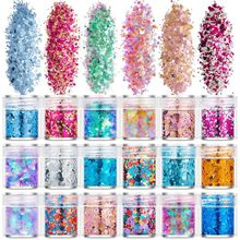 Glitter-Powder Manicure Filling Fingers DIY Uv-Epoxy-Resin Flash 18-Bottles Pigment-Dust