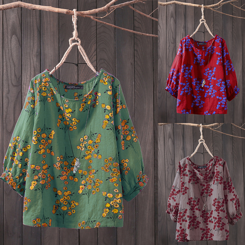 ZANZEA 2021 Plus Size Women Tops and Blouses Casual Work Office Blusas Ladies Vintage Floral Tunic Tops Female Pritned Shirt 5XL