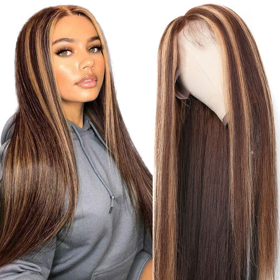 Unice Closure Wigs Highlight Human-Hair-Wig Honey Blonde Remy-Lace Lace-Front Brown Pre Plucked