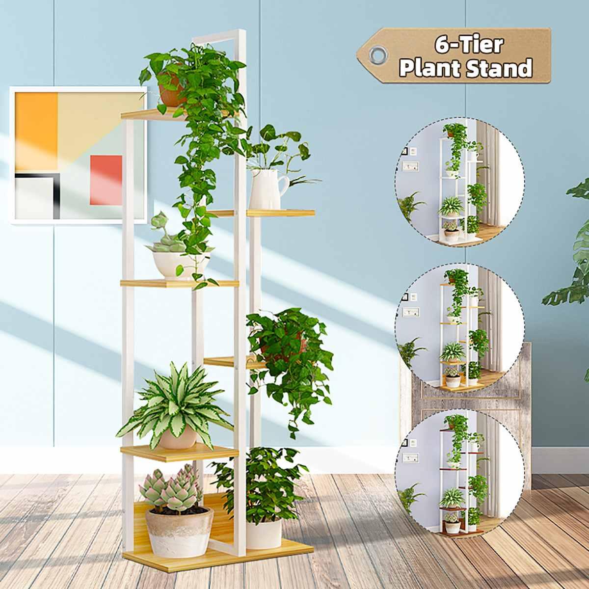 6 Tier Wooden Plant Stand Flower Pot Rack Outdoor Display Shelf Holder Home Decor Indoor Balcony Garden Flower Pot Storage Rack