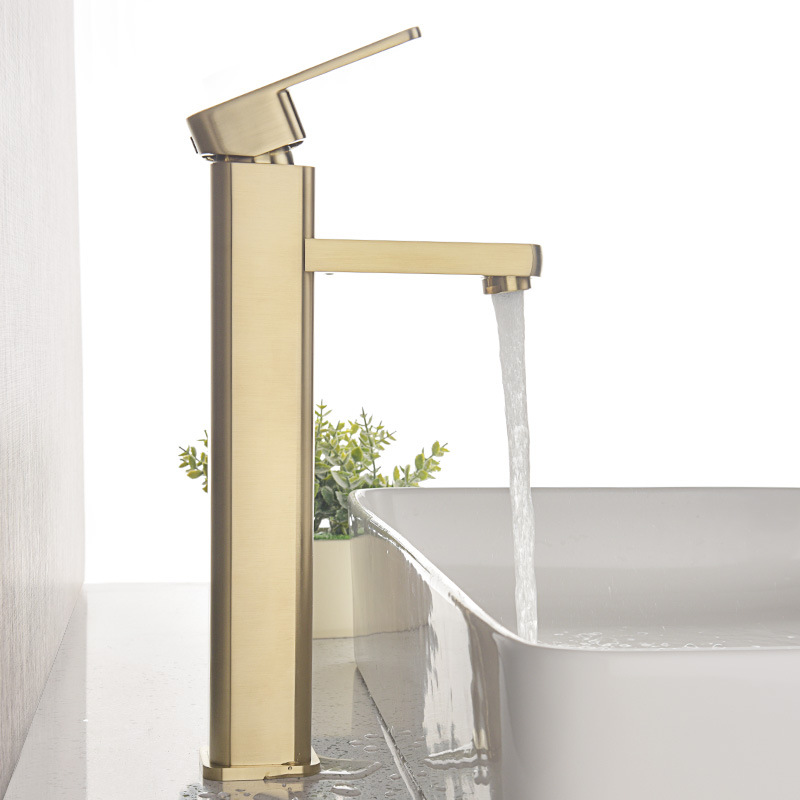 Copper Brushed Golden Basin Faucet Table Basin Drop-in Sink Single Bore Hot And Cold Faucet Height-MT1013