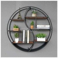 European style living room wall hanging rack creative solid wood shelf partition wall round display decorative frame 80cm