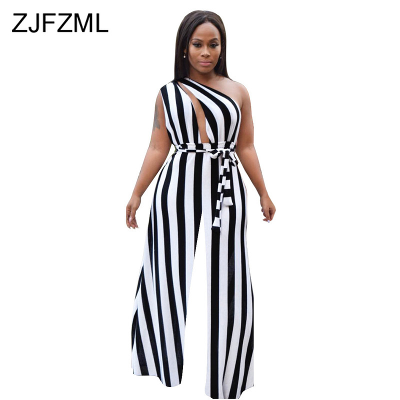 Striped Sexy Wide Leg Jumpsuits For Women 2020 Summer Backless Belt Plus Size Rompers Elegant One Shoulder Loose Party Jumpsuit