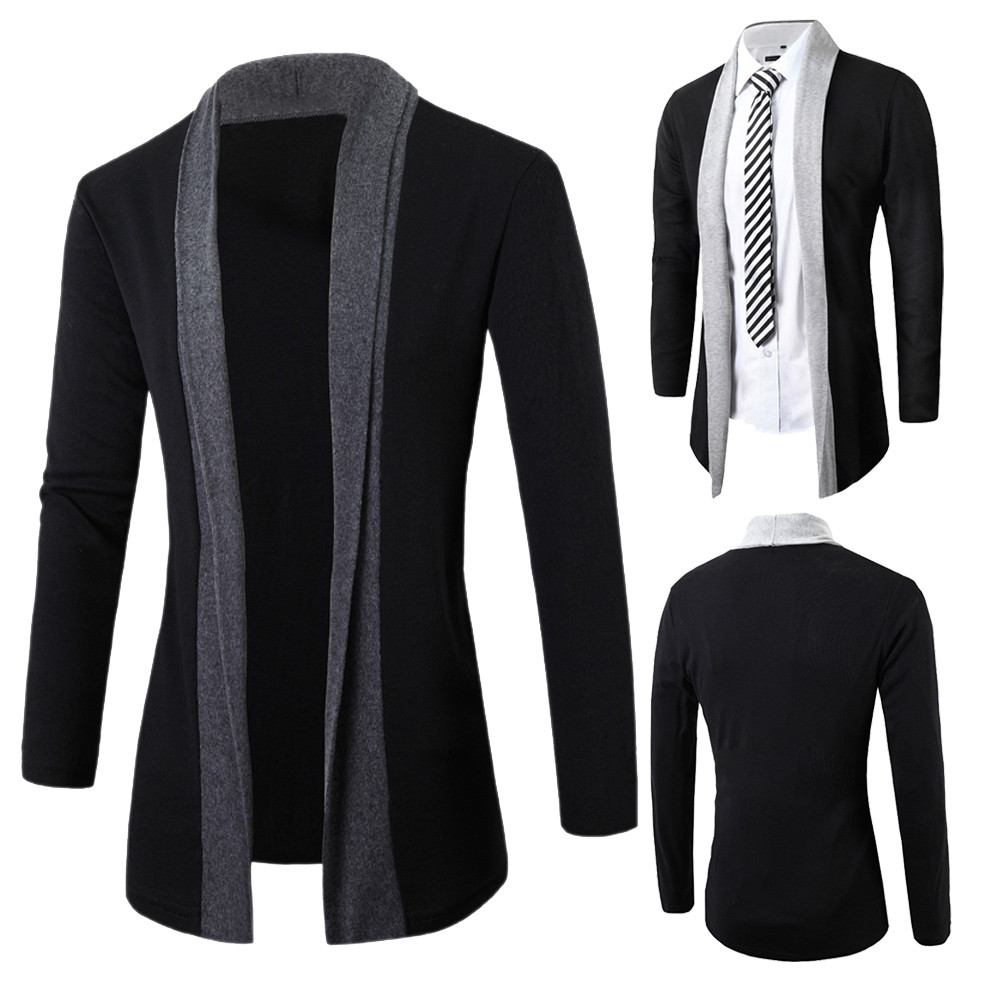 Coat Cardigans Jacket Autumn Mens Long-Sleeve Fashion Casual Slim Stylish Cotton Tops title=