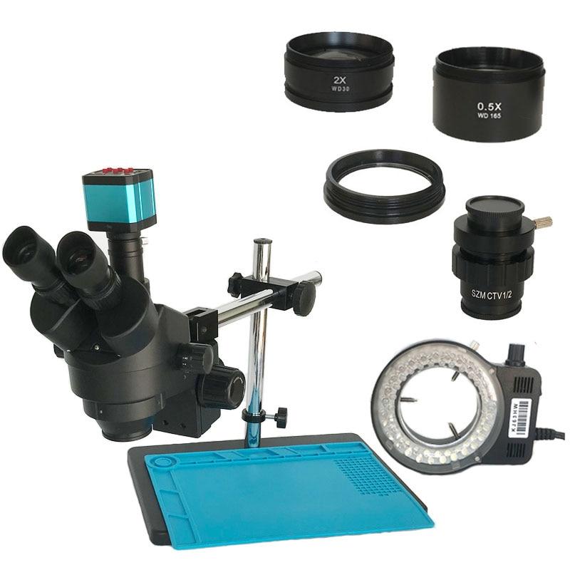 Aletler'ten Mikroskoplar'de Çift kol destek masası sehpası 3.5X 90X endüstriyel trinoküler stereo mikroskop 14MP HDMI dijital microscopio takı telefon aracı title=