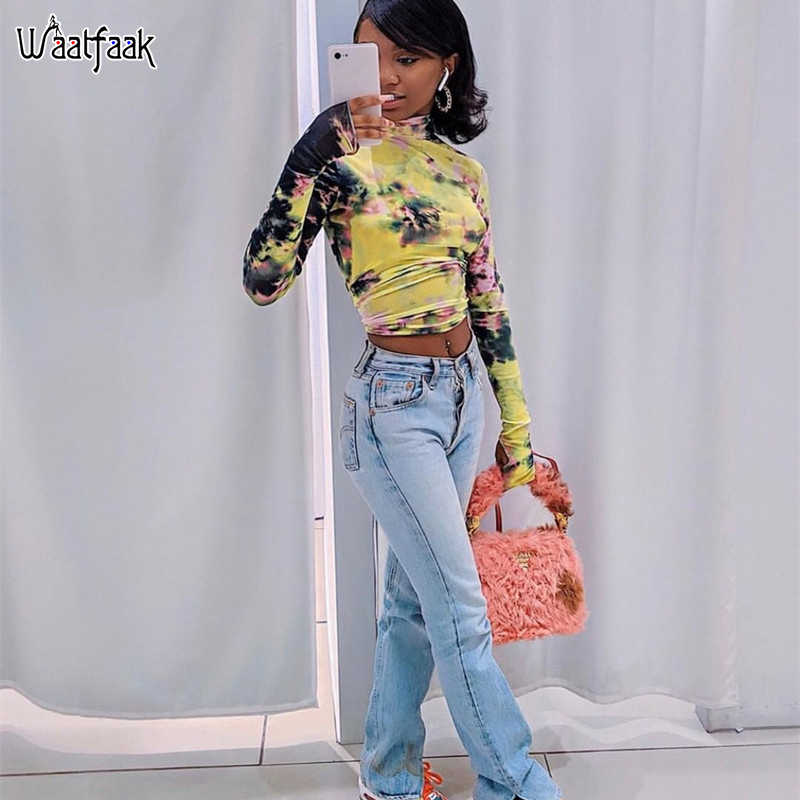 Waatfaak Tie Dye Sexy Transparent Mesh T Shirt Women Long Sleeve T-shirt Turtleneck Crop Tee Shirt Casual Basic Cropped Top 2019