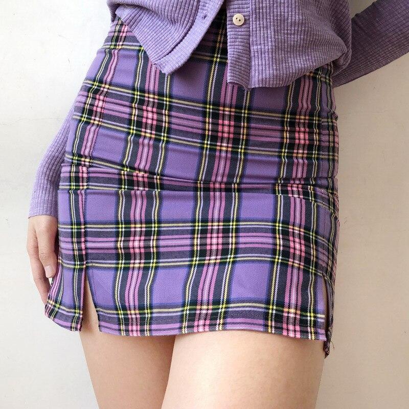 American Slim Section Retro A-shaped High Waist Purple Plaid Was Thin Skirt Sexy Split Fork Anti-Light Package Hip Skirt Women