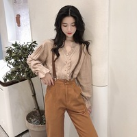 Korean Style CHIC Elegant V neck Frilled Solid Color Winter New Style Sense of Design Loose Fit Slimming Long sleeved Shirt Tops